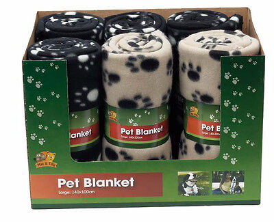 Small Medium & Large Black or Brown Paw Print Pet Cat Dog Fleece Soft Blanket
