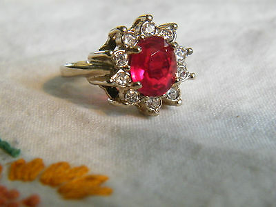 Beautiful Light Gold Tone Cocktail Ring Rhinestones Red Cabachon Size 7.75 NICE