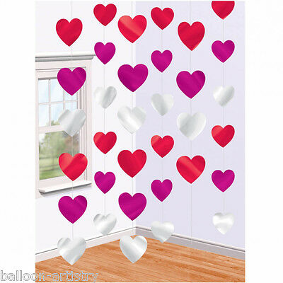 6 Valentine's Day Red Silver Hearts Hanging String Decorations
