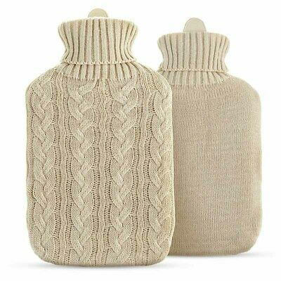 Hot Water Bottle with Cream Arran Style Knitted Cover
