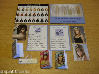 HAIRDRESSING hairdressers kit 1:12th scale dolls house shop signs modern posters