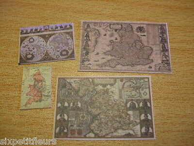 4 ANTIQUE OLD REPRODUCTION MAPS kit  1:12th or 1:24th  scale dolls house UK