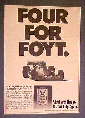 1977 A.J.Foyt Indianapolis Car Auto-Racing Valvoline Motor Oil Can Promo Art AD