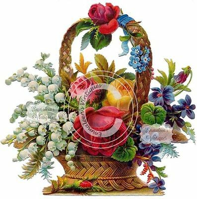 Vintage Image Shabby Large Victorian Basket of Flowers Waterslide Decals FL149