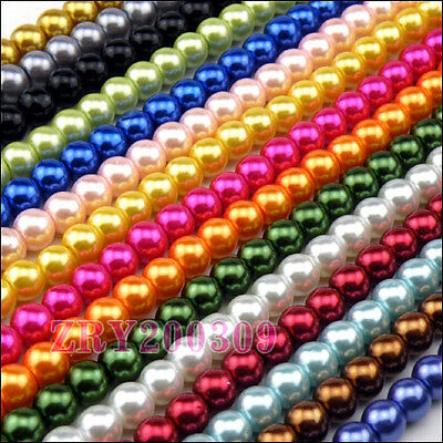 Glass Pearl Beads 4mm,6mm,8mm,10mm,12mm,23Colors-1 or Mixed R0181
