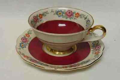 Royal Bayreuth Tea Cup & Saucer * Red w Flowers * teacup