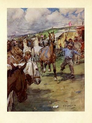 Horses At Barnet Fair, Vintage Color Print, Trying To Control The Horse, Antique