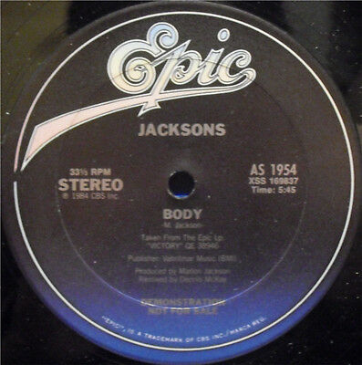 "THE JACKSONS Body 1984 US promotional 12"" vinyl Single AS1954 MICHAEL JACKSON"