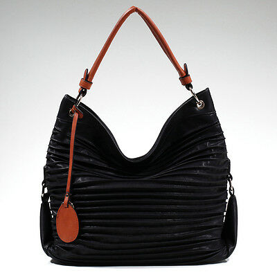 Women's Fashion Pleated Hobo Bag with Tassel Accent - Black/Brown