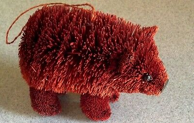 Wonderful Natural Brush Art Christmas Ornament Brown Bear New