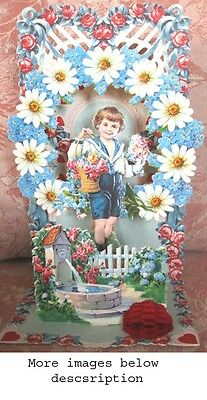 Vintage VALENTINE,c.1910,Stand-Out,Honeycomb,Die-Cut,SAILOR BOY,Made in Germany