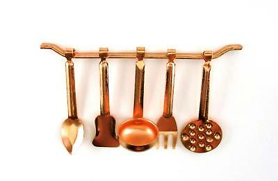 Dolls House Miniature Kitchen Accessory Copper Hanging Utensils & Rack 1:12