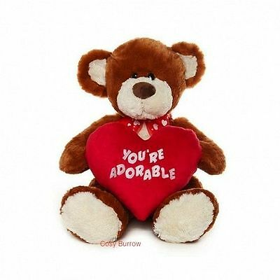 Brown Teddy Bear Holding Love Heart Valentines Gift - You're Adorable Called Mic