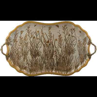 Reproduction Porcelain Gold Dusk Tray With Bronze Handles