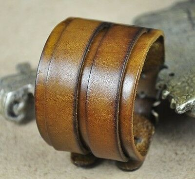 Double Band Quality Wide Vintage Leather Bracelet Wristband Men's Cuff KHAKI