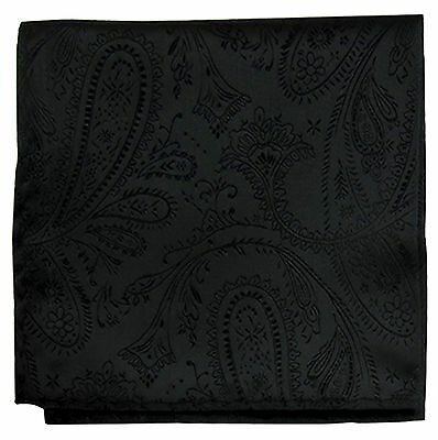 New Men's Polyester Woven pocket square hankie only black paisley prom wedding