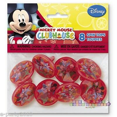 (8) MICKEY MOUSE clubhouse SPIN TOPS ~ Disney Birthday Party Supplies ~ FAVORS