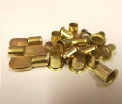 12 ELECTRO-BRASS SHELF SUPPORTS STUD PIN 7mm & 64 E/BRASS PLATED SOCKETS SLEEVES