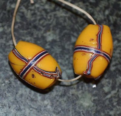 Two Antique Venetian Trail Decorated Beads - French Cross