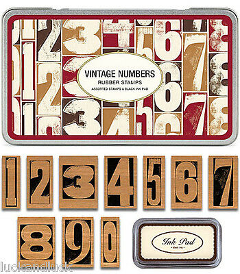 Cavallini Vintage Style Numbers Rubber Wooden Stamp Tin / Gift Set x 10 Craft