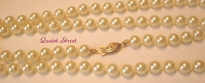 """PREMIER DESIGNS Countess Pearl Necklace ivory cream gold filigree clasp 30"""" $56"""