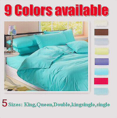 Queen King Sheet Set, Flat, Fitted,Pillowcases Aus Size Bed (9 Color Available)