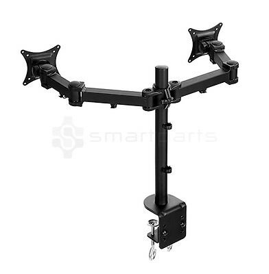 Lavolta Dual Monitor Mount Stand Arm Desk Clamp +/-15° Tilt 360° Rotate Swivel
