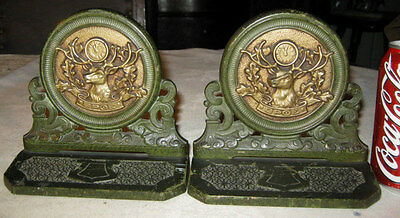 Antique Judd Bpoe Masonic Elk Clock Antler Deer Horn Cast Iron Judd Co Bookends