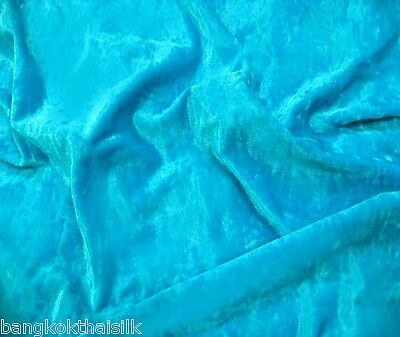 """Turquoise Crushed Panne Velour Velvet 2 Way Stretch Fabric 58""""W By Yard"""