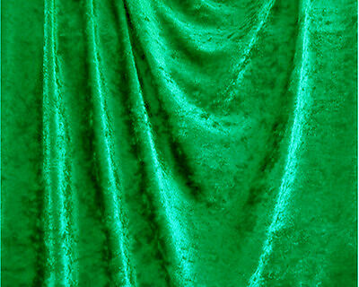 """Kelly Green Crushed Panne Velour Velvet 2 Way Stretch Fabric 58""""W By Yard"""