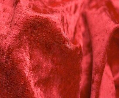 """RED Crushed Panne Velour Velvet 2 Way Stretch Fabric 58""""W By Yard"""