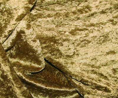 """Old Gold Crushed Panne Velour Velvet 2 Way Stretch Fabric 58""""W By Yard"""