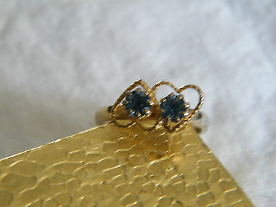 Beautiful Gold Tone Cocktail Ring Blue Rhinestones Hearts Size 6 1/2 Adjustable