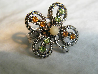 Beautiful Silver Tone Cocktail Ring 4-Leaf Clover Rhinestones Adjustable NICE