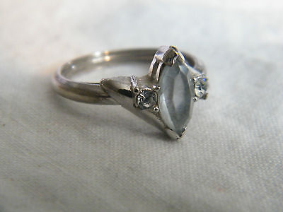 Beautiful Silver Tone Cocktail Ring Rhinestones Signed AVON Size 6 1/2 NICE