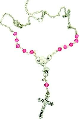 """First Communion Gift 4MM Rose Pink Tin Cut Bead 16"""" Necklace w Chalice Pendant"""