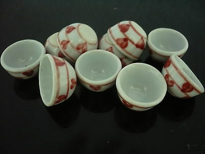 10x30 mm Red Orchid Salad Bowl Dollhouse Miniatures Ceramic Supply Deco