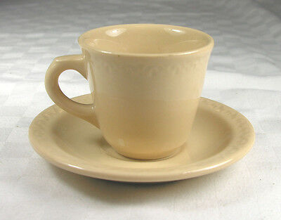 Shenango Inca Ware Vintage Restaurant Coffee Cup & Saucer with embossed rim