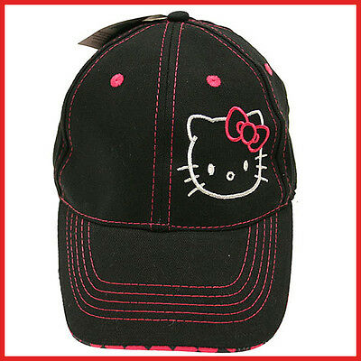 Sanrio Hello Kitty Baseball Cap Kids Hat- Big Face with Pink Bow in Black