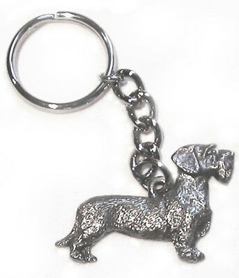 DACHSHUND Wire Haired Dog Fine Pewter Keychain Key Ring
