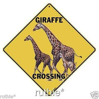 "Giraffe Metal Crossing Sign 16 1/2"" x 16 1/2"" Diamond shape made in USA #255"