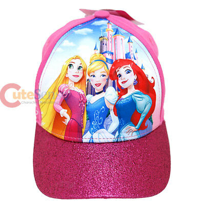 Disney Princess Cap Girls Adjustable Hat  Pink Tangled Cinderella Ariel 3D POP