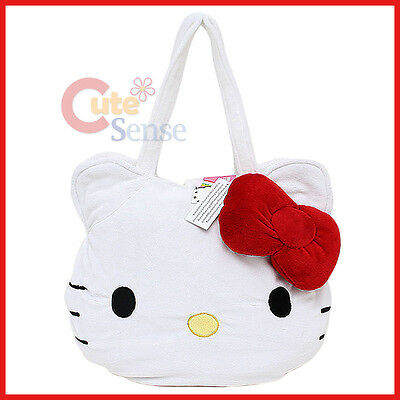 Sanrio Hello Kitty Big Face Plush Shoulder Bag Hand Bag with  3D Red Bow
