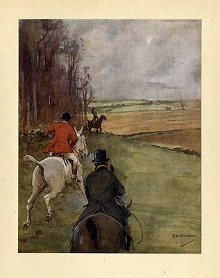 Horses And Sportsmen Hunt Fox Vintage Decorative Color Hunting Print Huntsmen