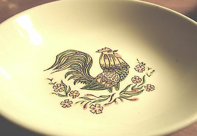VINTAGE TAYLOR SMITH & TAYLOR SINGLE BERRY BOWL COLORFUL GREEN ROOSTER DESIGN