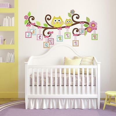 New GIANT SCROLL TREE LETTER BRANCH WALL DECALS Baby Nursery Stickers Owl Decor