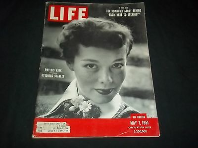 1951 MAY 7 LIFE MAGAZINE - PHYLLIS KIRK STARLET - BEAUTIFUL FRONT COVER - GG 125