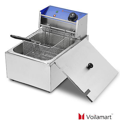 Commercial Deep Fryer Basket Electric Stainless Steel Tank Fat Chip 2500W 10L