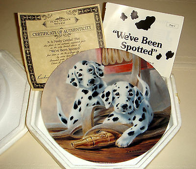 LYNN KAATZ Dogs Life Firehose & Energetic Dalmatian Pups WEVE BEEN SPOTTED Plate