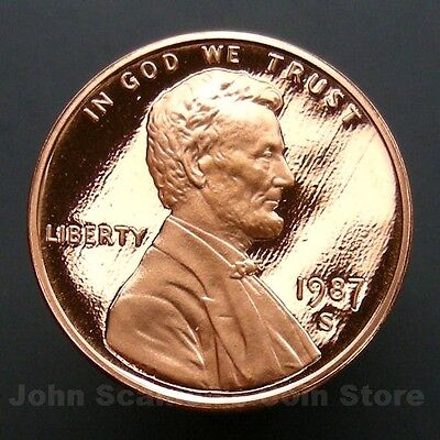 1987-S Lincoln Memorial Cent Penny - Gem Proof Deep Cameo U.S. Coin
